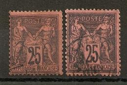 DEUX SAGE 25C NOIR S ROUGE. 2 NUANCES DIFFERENTES Dont Sur Noir Foncé.  Cote:55EUR - 1876-1898 Sage (Type II)