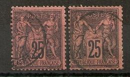 DEUX SAGE 25C NOIR S ROUGE. Bonne Dentelure.  Cote:50 EUR - 1876-1898 Sage (Type II)