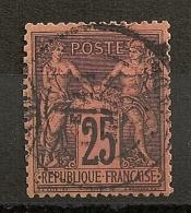 SAGE 25C NOIR S ROUGE. TRES BEL EXEMPLAIRE. TRES BELLE DENTELURE. - 1876-1898 Sage (Type II)