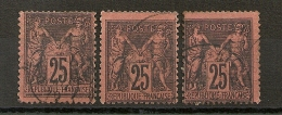 Trois SAGE 25C NOIR S ROUGE. Cote : 75 EUR - 1876-1898 Sage (Type II)