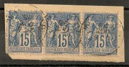 BANDE De TROIS 15c SAGE. CENTRAGE PARFAIT ! - 1876-1898 Sage (Type II)