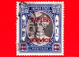 India - JAIPUR - Usato - 1947 - Maharaja Man Singh II - Sovrastampato In Rosso SERVICE -  9 Pies  Su 1 - Jaipur