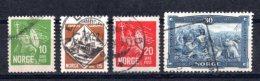 1930 NORWAY KING OLAV II MICHEL: 155-158 USED