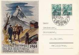 SCHWEIZ 1946 - Tag Der Briefmarke, 2 Fach Frankierung Auf Bildpostkarte