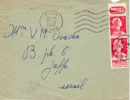 "Algeria / Alger-Israel 1957 ""Publicite L'object"" Tabs Mailed Cover 4 - Storia Postale"