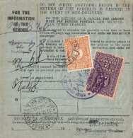 ENGLAND/JUGOSLAWIEN 1930 - 2 Din + 5 Din Nachporto Auf Paketkarte Insured Von Nottingham Nach Zagreb - 1919-1929 Königreich Der Serben, Kroaten & Slowenen