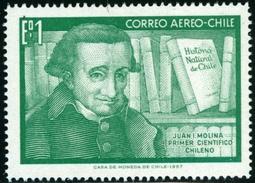 CILE, CHILE, 1968, POSTA AEREA, AIRMAIL, COMMEMORATIVO, JUAN MOLINA, FRANCOBOLLO USATO, Scott C282 - Cile