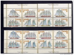 CANADA MINT, 1977, # 747a, SAILING   VESSELS.--VOILIERS--   Set Of 4  BLOCKS With Extra Pullie On LL    MNH