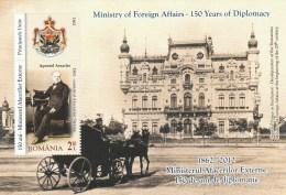 #201 MINISTRY OF FOREIGN AFFAIRS, STURDZA PALACE, BUCURESTI,APOSTOL ARSACHE, 2012, MNH**, BLOCK, ROMANIA. - Blocs-feuillets