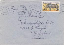 K9442 - Czechoslovakia (1977) 125 00 Praha 025 (letter) Tariff: 60 H (stamp: Czechosl. Safari - Ceratotherium Simum)
