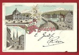 FIK-18   Gruss Aus Luzern. Lucerne. BAhnhof, Hofkirche. Litho. Pionier. 1899, Briefmarke Fehlt. PLI ANGLE Et PERFORATION - LU Lucerne