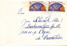 K9448 - Czechoslovakia (1976) Uhelna Pribram (letter) Tariff: 60 H (stamp: 30h Space Exploration - USSR / CSSR / DDR)