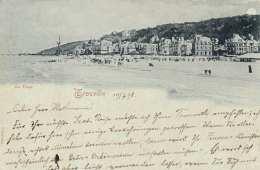 Litho TROUVILLE - La Plage, Gel.1898 Von Trouville Nach Apolda - Böhmen Und Mähren