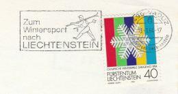 1984 LIECHTENSTEIN Stamps COVER (card)  SLOGAN Illus SKIER  Zum WINTERSPORT Nach Liechtenstein, Sport Skiing Ski