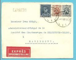 279+287+320 Op Brief Per EXPRES Met Stempel IXELLES-ELSENE Met Als Aankomst Verso Spoorwegstempel MARIEMONT N°1 - 1931-1934 Kepi