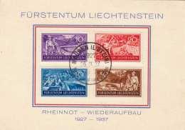 Liechtenstein 1937 - 4 Werte Auf Pk, Rheinnot Wiederaufbau