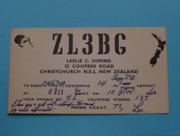 NEW ZEALAND ( ZL3BG ) CB Radio / 1960 - Leslie C. Himing Christchurch ( Zie Foto Voor Details ) - Radio Amateur