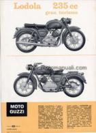 Moto Guzzi Lodola 235 1961 Depliant Originale Factory Original Brochure - Moteurs
