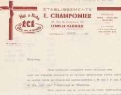 39 :Facture Des établissements E.Champomier Prêt à Porter écé 49 Rue Du Commerce à  Lons- Le- Saunier En 1956 - France