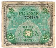 France. 2 F Drapeau 1944 - 1871-1952 Antichi Franchi Circolanti Nel XX Secolo