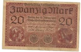 Allemagne. Reichsbanknote 20 Mark. Février 1918 - [ 2] 1871-1918 : Empire Allemand