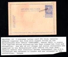 BELGIUM UPU SPECIMEN POSTAL CARD FROM BECHUANALAND - Belgium