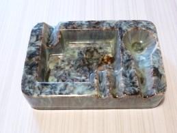 Cendrier Pour Pipe, Cigarette, Cigare - Rectangulaire 113x165mm , Ht: 3,7 Cm, Céramique Peinte - Cendriers