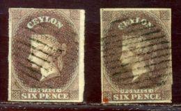 CEYLON 1857 SG 1 6d PURPLE BROWN - Ceylon (...-1947)