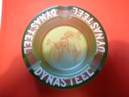 Cendrier Publiicitaire : DYNASTEEL - Vert, Rond , Diàmètre 14 Ht: 3,7 Cm, Verre - Cendriers