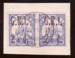 SAMOA 1914 2 1/2d YACHT USED PAIR - Samoa