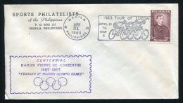 PHILIPPINES OLYMPICS COUBERTIN CYCLING 1963 - Olympic Games