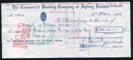 AUSTRALIA KENYA LION GB CHEQUE 1969 - Cheques & Traveler's Cheques