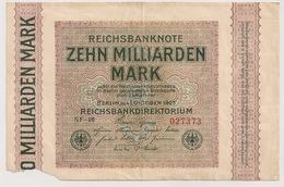 Allemagne. Reichsbanknote 10 Milliards Mark. Octobre 1923 . Petit Manque - [ 3] 1918-1933 : République De Weimar