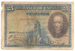 Espagne. 25 Pesetas. Août 1928 - 1-2-5-25 Pesetas