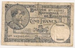 Belgique 5 Cinq Francs. Mai 1927 - [ 2] 1831-... : Belgian Kingdom
