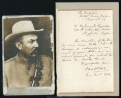 BOER WAR LOUIS BOTHA PHOTO LETTER 1902 - Famous People