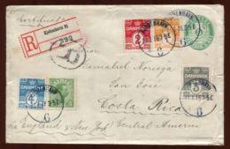 DENMARK POSTAL STATIONERY  REGISTERED TO COSTA RICA 1916 - Denmark
