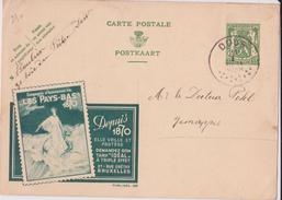 "PUBLIBEL N° 290 - COMPAGNIE D'ASSURANCE-VIE ""LES PAYS-BAS (COULEUR VERTE) - F- N - Stamped Stationery"