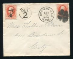 U.S.A. 1870s POSTAGE DUE COVER MASSACHUSETTS - Postal History