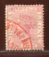SIERRA LEONE CUSTOMS PORT SULYMAH QV 1d - Sierra Leone (...-1960)