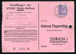 SWITZERLAND BALLOON FLIGHTS 1937 ZURICH AIRMEETING - Switzerland