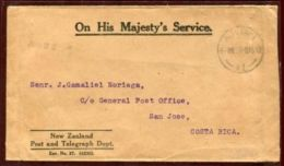 AITUTAKI OHMS OFFICIAL COVER TO COSTA RICA 1920 - Cook Islands