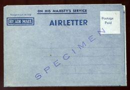 AUSTRALIA SPECIMEN KG6 AIR LETTER - Postmark Collection
