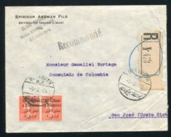 LEBANON TO COSTA RICA REGISTERED 1925 - Lebanon