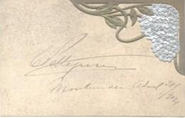 CARLOS PELLEGRINI AUTOGRAFO SOBRE POSTAL ART NOUVEAU MUCHA? 1904 FIRMADA EN MONTEVIDEO EN EL AÑO 1904 Y ENVIADA A CATALI - Autographes