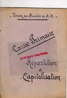 87 - LIMOGES - UNION DES SOCIETES DE SECOURS MUTUELS- CAISSE PRIMAIRE REPARTITION CAPITALISATION 1927 - Documents Historiques