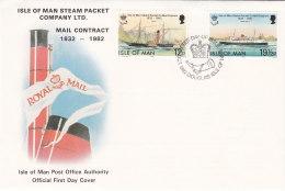 Insel Man 1982 - Nr. 215/16 - FDC Ersttagsbrief - 150 Jahre Postbeförderung - Isola Di Man