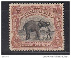 NORTH BORNEO  1909  5 C  MH  ELEPHANT       NO GUM - Noord Borneo (...-1963)