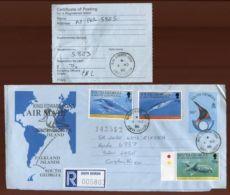 SOUTH GEORGIA AIRLETTER TO COSTA RICA - Falkland Islands