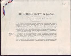 AMERICAN SOCIETY LONDON REPORT OF SPEECHES INDEPENDENCE DAY BANQUET 1906 - Other Collections